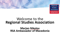 Presentation Info for Regional Studies Association, Marjan Nikolov RSA Ambassador of Macedonia
